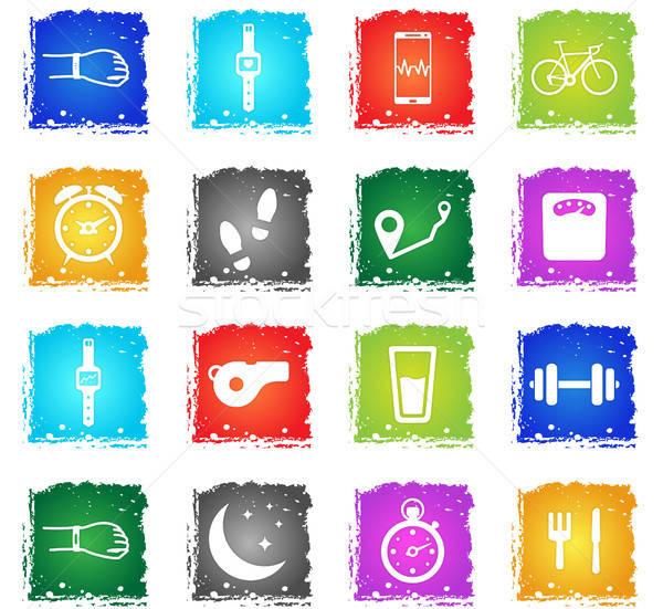 Corrida exercício simplesmente ícones símbolos grunge Foto stock © ayaxmr