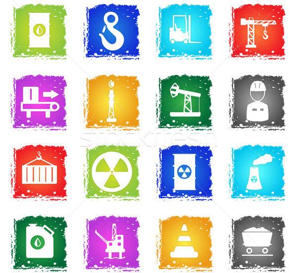 Industrial simplesmente ícones símbolo grunge estilo Foto stock © ayaxmr