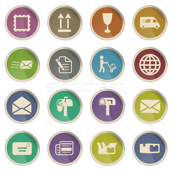 Post dienst eenvoudig iconen label web Stockfoto © ayaxmr