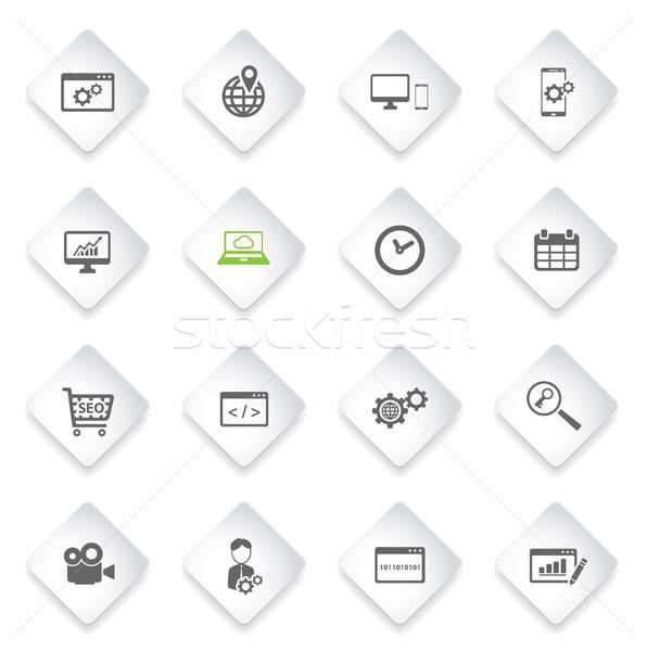 Seo развития просто иконки веб-иконы Сток-фото © ayaxmr