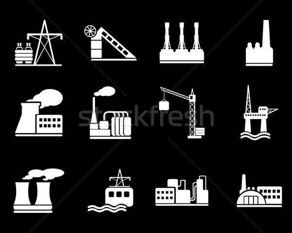 Gyár ipar szimbólumok egyszerűen háló felhasználó Stock fotó © ayaxmr