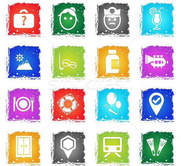 Reizen vector web icons grunge stijl Stockfoto © ayaxmr