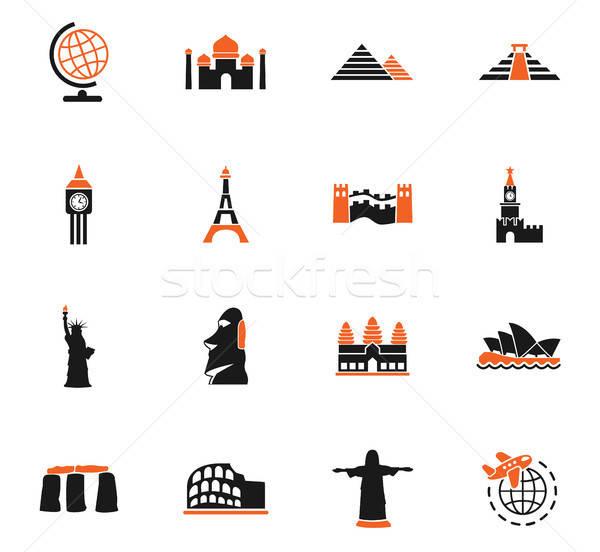 travel and wonders icon set Stock photo © ayaxmr