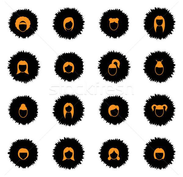 Stock fotó: Nő · hajviselet · egyszerűen · ikonok · vektor · háló