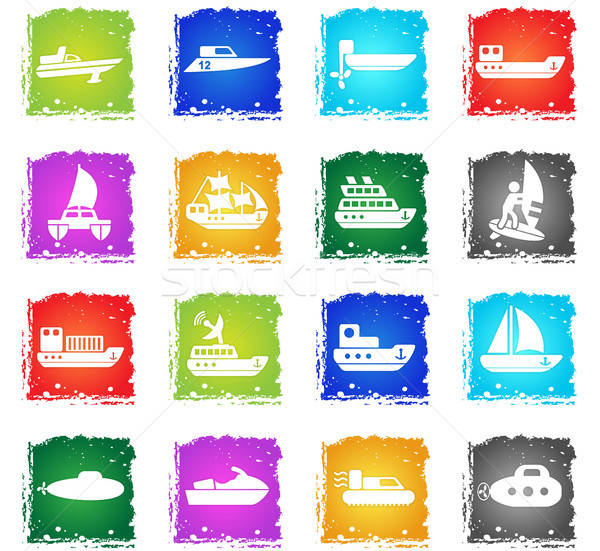 Ships yachts and boats icons set Stock photo © ayaxmr
