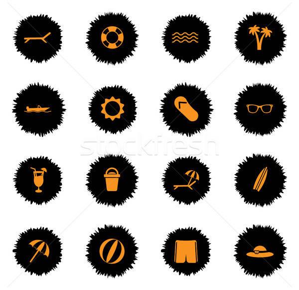Tengerpart egyszerűen ikonok vektor háló felhasználó Stock fotó © ayaxmr