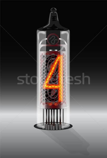 Digit 4 on vintage vacuum tube display Stock photo © ayaxmr