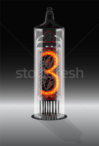 Digit 3 on vintage vacuum tube display Stock photo © ayaxmr