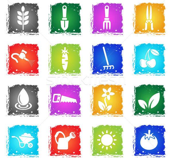 Kertészkedés ikon gyűjtemény webes ikonok grunge stílus felhasználó Stock fotó © ayaxmr
