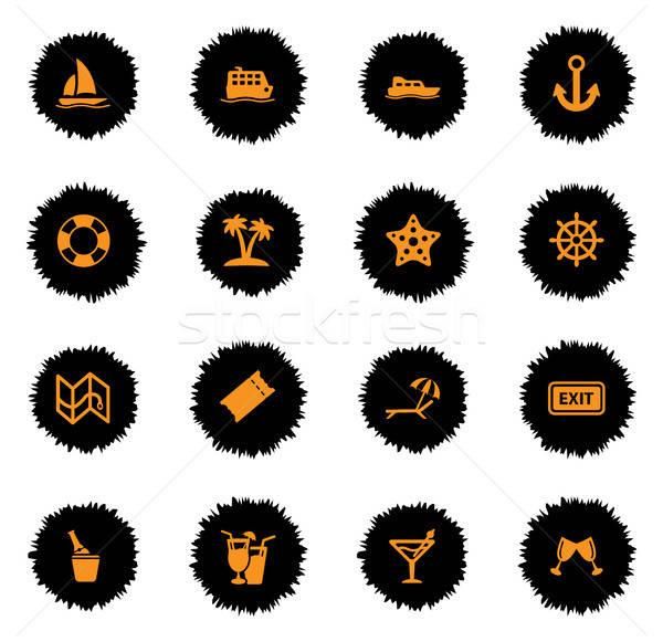 Cruise eenvoudig iconen vector web gebruiker Stockfoto © ayaxmr