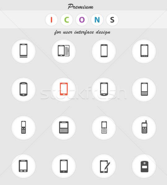Telefoni semplicemente icone vettore web utente Foto d'archivio © ayaxmr