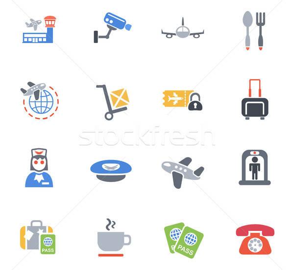 Foto stock: Aeropuerto · iconos · de · la · web · usuario · interfaz · diseno