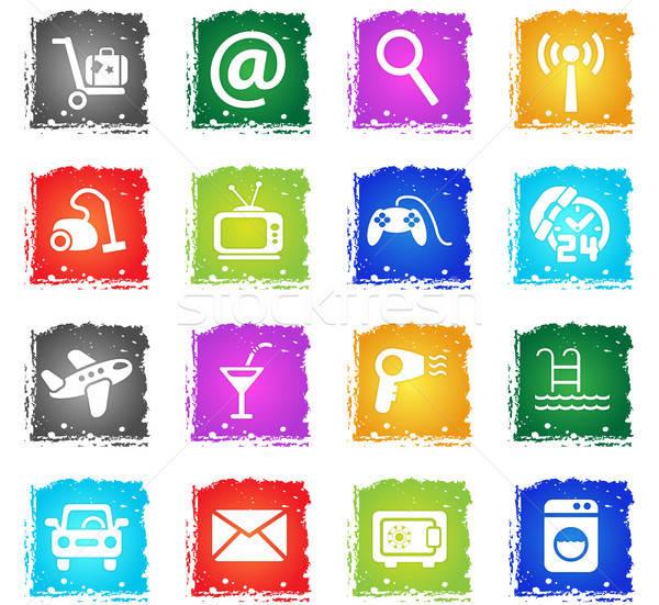 hotel service icon set Stock photo © ayaxmr
