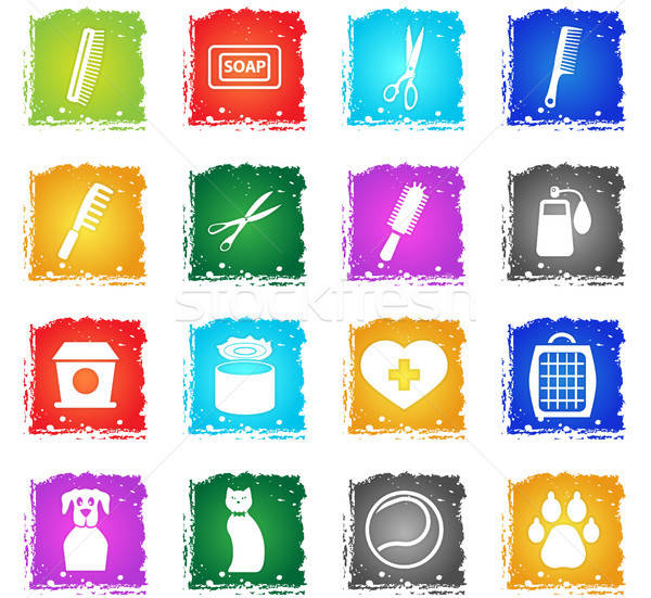 goods for pets icon set Stock photo © ayaxmr