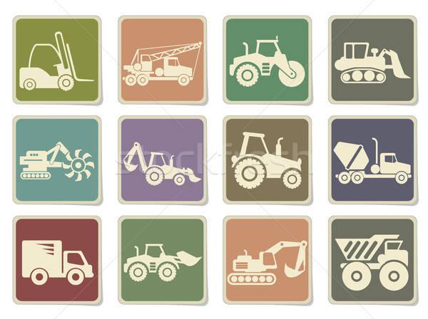 транспорт строительство иконки цвета икона Сток-фото © ayaxmr