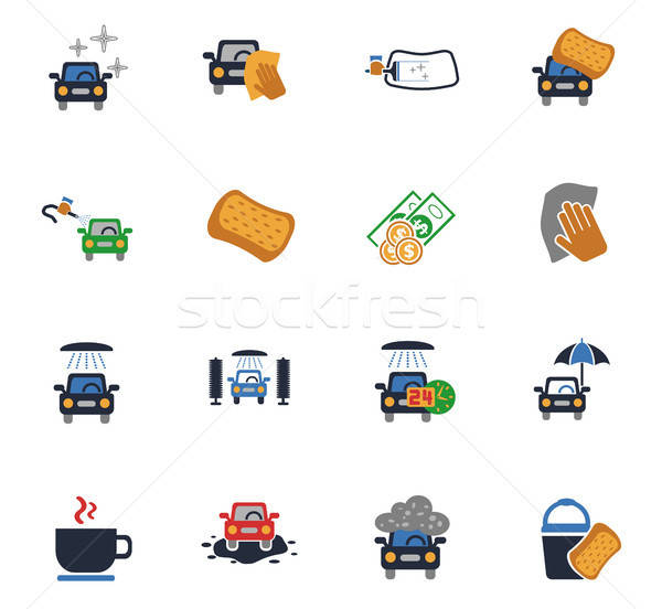 Car wash dienst web icons gebruiker interface Stockfoto © ayaxmr