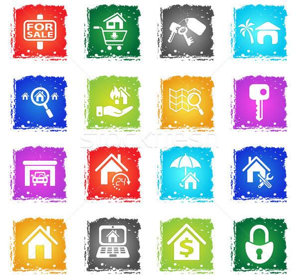 Zdjęcia stock: Nieruchomości · web · ikony · grunge · stylu · użytkownik