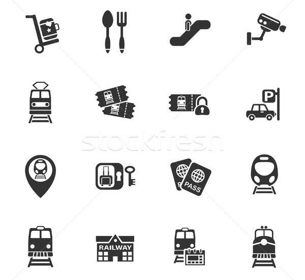 Treinstation web icons gebruiker interface ontwerp Stockfoto © ayaxmr
