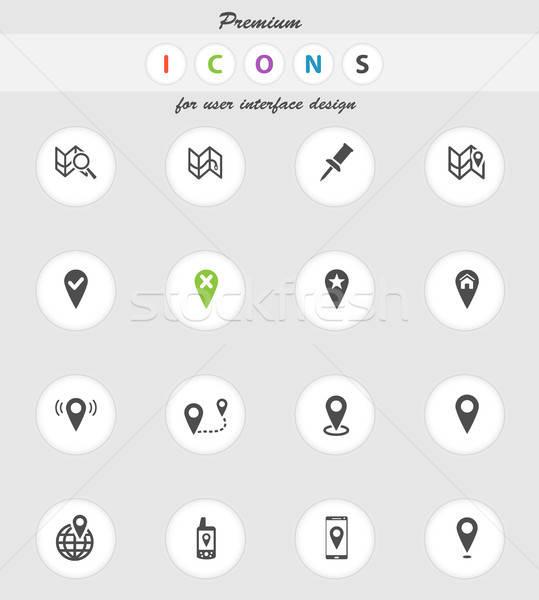 Térképek egyszerűen ikonok vektor háló felhasználó Stock fotó © ayaxmr