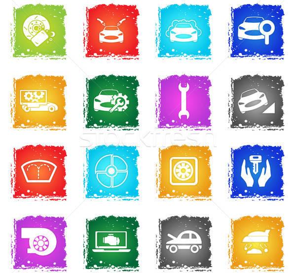 car shop icon set Stock photo © ayaxmr
