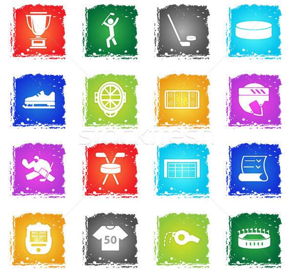 Hockey vector iconos de la web grunge estilo Foto stock © ayaxmr