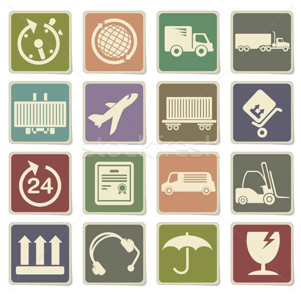 Cargo shipping icons set Stock photo © ayaxmr