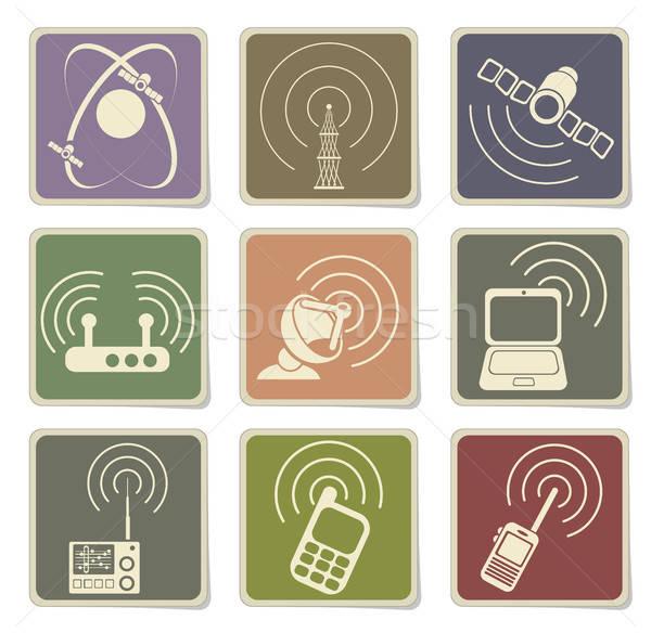 Stockfoto: Radio · signaal · eenvoudige · vector · iconen · web