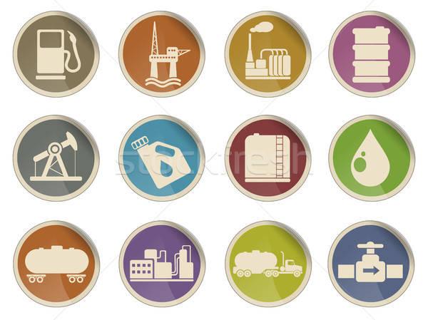 Pétrolières essence industrie objets étiquette icônes Photo stock © ayaxmr