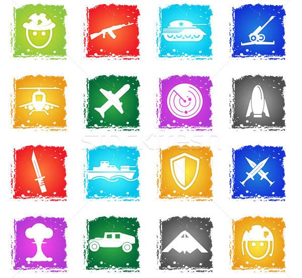 Háború szimbólumok ikon gyűjtemény vektor webes ikonok grunge Stock fotó © ayaxmr