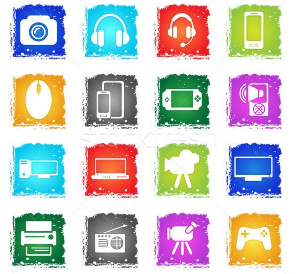 Gadget vector web icons grunge stijl Stockfoto © ayaxmr