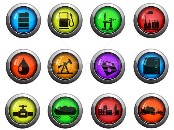 Oil and petrol industry icons set Stock photo © ayaxmr