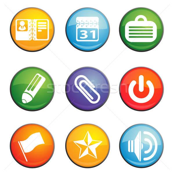 Kantoor glanzend iconen website gebruiker Stockfoto © ayaxmr