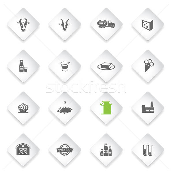Milk industry icons set Stock photo © ayaxmr