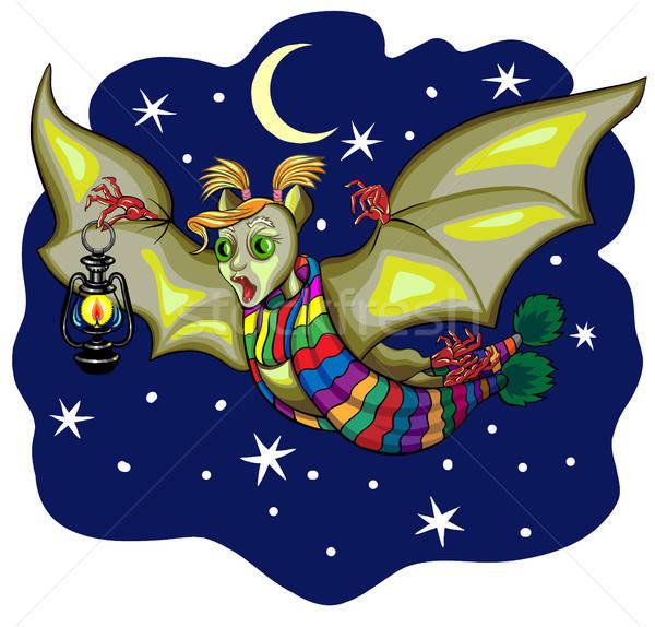 örnek sevimli karikatür halloween bat uçan Stok fotoğraf © ayaxmr
