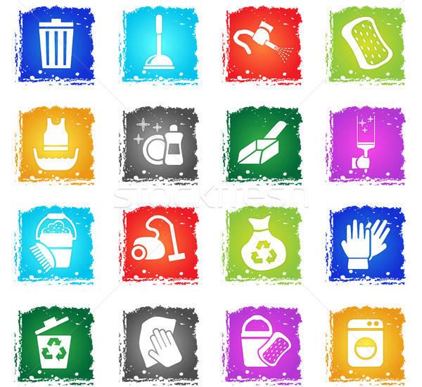 Schoonmaken web icons grunge stijl gebruiker Stockfoto © ayaxmr