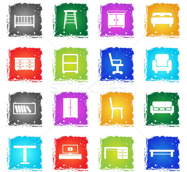 Furniture simply icons Stock photo © ayaxmr