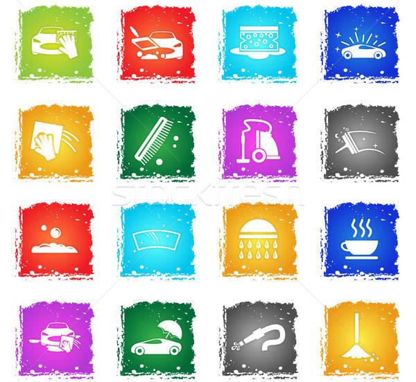 Araba yıkayıcı web simgeleri grunge stil Stok fotoğraf © ayaxmr