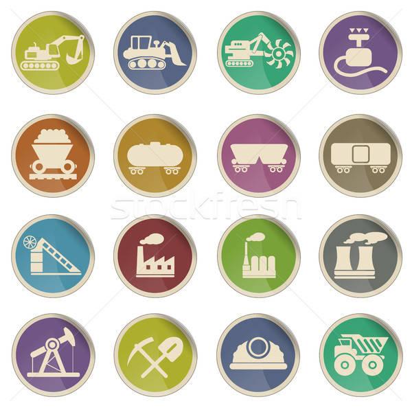 Fabrik Industrie Symbole Label Web Benutzer Stock foto © ayaxmr