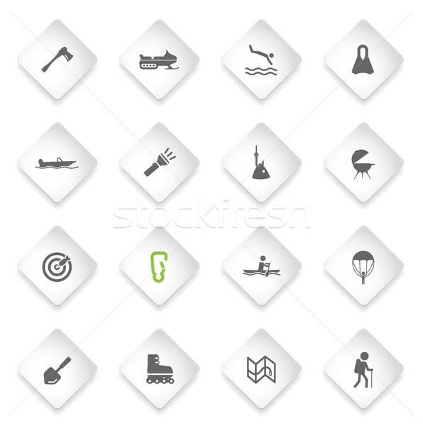 Aktív kikapcsolódás ikon gyűjtemény egyszerűen ikonok háló Stock fotó © ayaxmr