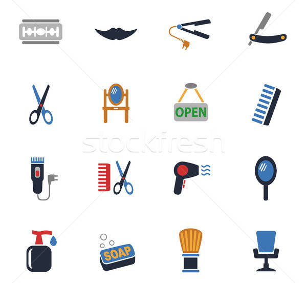 barbershop icon set Stock photo © ayaxmr