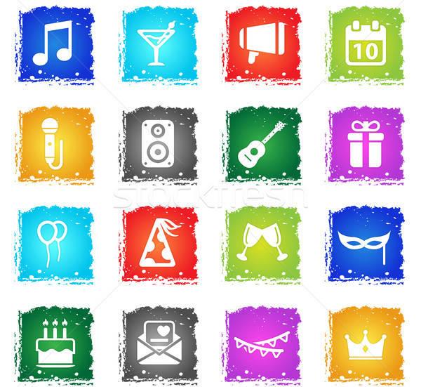 Fiesta simplemente iconos símbolo grunge estilo Foto stock © ayaxmr