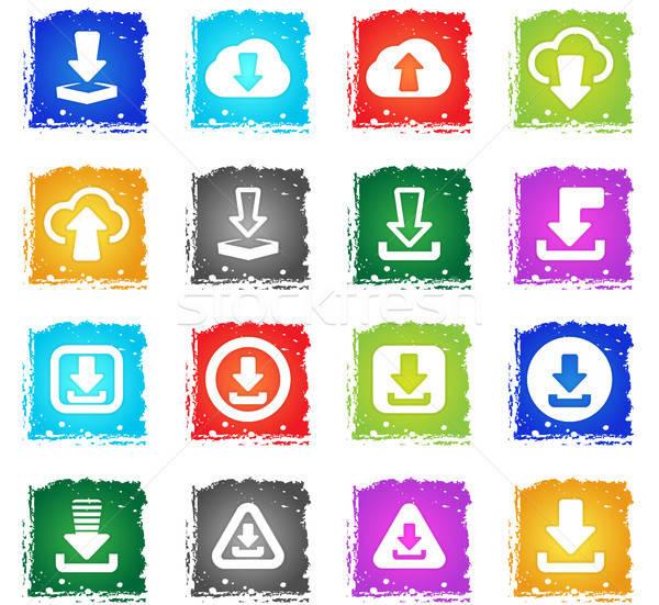 Simgesi indir ayarlamak indirmek vektör web simgeleri grunge Stok fotoğraf © ayaxmr