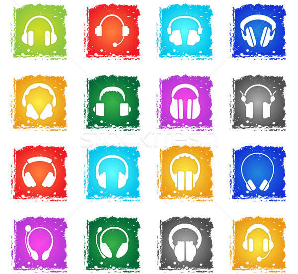 headphones icon set Stock photo © ayaxmr