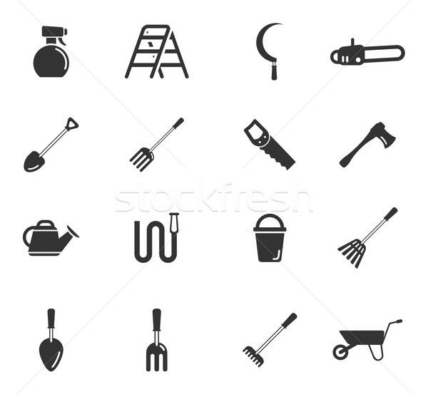Garden tools simply icons Stock photo © ayaxmr