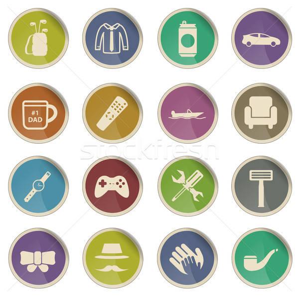 Dag eenvoudig iconen label web gebruiker Stockfoto © ayaxmr