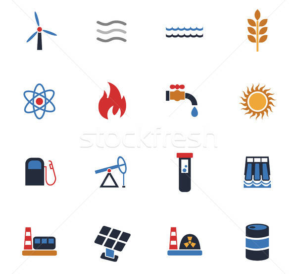 fuel and power icon set Stock photo © ayaxmr