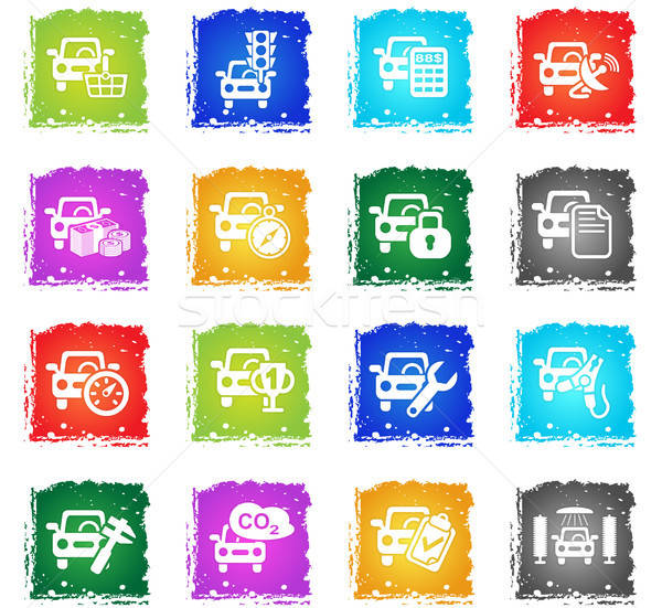 Carro serviço simplesmente ícones símbolo grunge Foto stock © ayaxmr