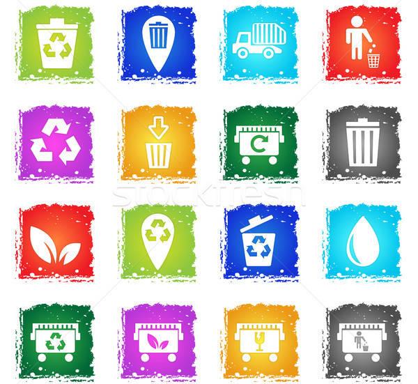 Garbage icone web grunge stile utente Foto d'archivio © ayaxmr