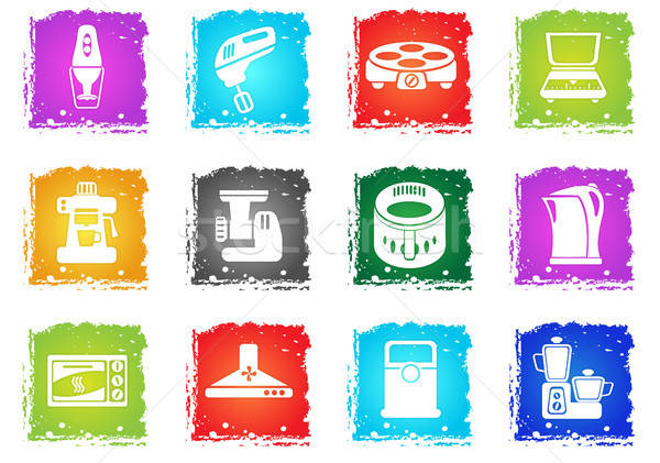 Kitchen Utensils Icon Set Stock photo © ayaxmr