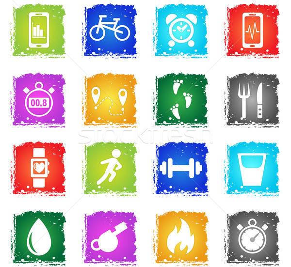 Ellenőrzés appok ikon gyűjtemény webes ikonok grunge stílus Stock fotó © ayaxmr